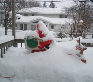 Santa/snow traffic jam in my parents' backyard
