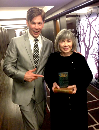 Christopher Rice and Anne Rice, holding her brand spankin' new award!