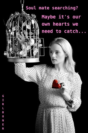 Girl with cage and red heart